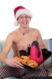 Mman bedroom breakfast Xmas Stock Photography