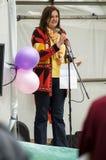 Mme D E Keal - anti-Fracking mars - Malton - Ryedale de conseiller Images libres de droits
