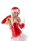 Mme Santa avec la bouteille de champagne Images stock