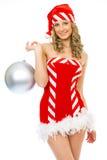 Mme sexy Santa souriant et posant Images stock