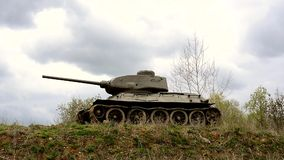 Mmilitary tank and clouds flowing stock video