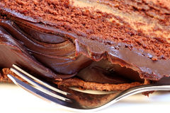 Mmmm--Chocolate Cake. Mmmm - closeup of rich chocolate mud cake, with silver cake fork royalty free stock photography