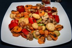Grilled vegetables on plate. Mmmm, Grilled vegetables on plate royalty free stock images