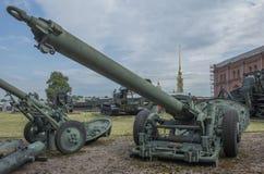 240-mmmortel M-240 (1950) Vikt kg: mortel - 3610, booby-131 Arkivfoton