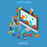 MMOG massively multiplayer online game gaming flat 3d isometric. Flat 3d isometry isometric MMOG massively multiplayer online game gaming concept web Royalty Free Stock Images