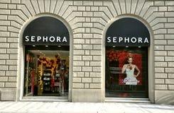 Mémoire de produits de beauté de Sephora à Florence, Italie   Image stock
