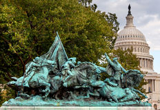 Mémorial de guerre civile de statue des USA Grant de charge de calvaire Capitol Hill W Images libres de droits