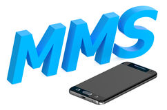 Mms concept with smartphone. Isolated on white background Stock Photo