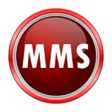 MMS round metallic red button. Vector icon Royalty Free Stock Photography