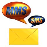 Mms sms mail symbols (Hi-Res). Mobile phone text message balloons and yellow envelope. Isolated on white. 3D render Royalty Free Stock Photo