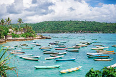 Mnóstwo łodzie cumowali na pozyci i błękitnym oceanie Zdjęcie Royalty Free