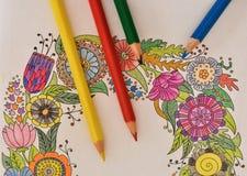 Mnóstwo barwioni ołówki na kolorystyki książce - kolorowa tęcza zdjęcia royalty free