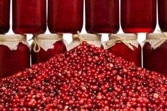 Mnóstwo cranberry i dżem z cranberry Obrazy Stock