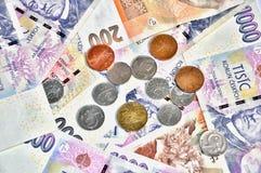 Mnóstwo czescy korona banknoty Zdjęcia Stock