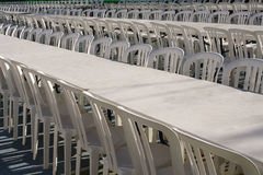 Mnóstwo krzesła przy festiwalem Zdjęcie Stock