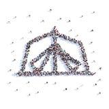 Mnóstwo ludzie formularzowego namiotu, podwyżka, ikona świadczenia 3 d zdjęcia royalty free