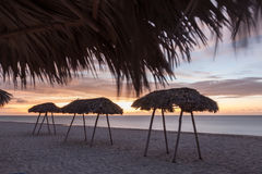 Mnóstwo słońce parasole Zmierzch na dennym przodzie Fotografia Stock