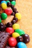 Mnóstwo trzcina brown cukier i cukierki, niezdrowy jedzenie Obrazy Royalty Free