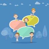 Mnóstwo wiadomość balon i ludzie ilustracja wektor