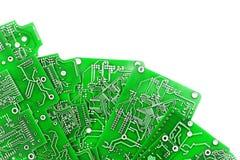 Mnóstwo zieleni PCB na bielu Zdjęcia Stock