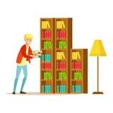 Mn che raccoglie i libri dallo scaffale per libri, illustrazione sorridente di Person In The Library Vector Fotografia Stock Libera da Diritti