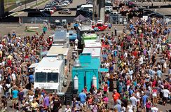 MN. Food Truck Fair. MINNEAPOLIS - August 5:  Large crowds attend the MN. Food Truck Fair on August 5, 2012, in Minneapols.  Food trucks have become popular in Royalty Free Stock Photo