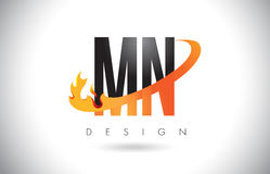 MN M N Letter Logo with Fire Flames Design and Orange Swoosh. Royalty Free Stock Photo