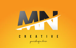 MN M N Letter Modern Logo Design with Yellow Background and Swoo. MN M N Letter Modern Logo Design with Swoosh Cutting the Middle Letters and Yellow Background Stock Photography
