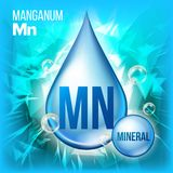 Mn Manganum Vector. Mineral Blue Drop Icon. Vitamin Liquid Droplet Icon. Substance For Beauty, Cosmetic, Heath Promo Ads royalty free illustration