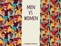 Män vs kvinnafolkmassafolk färgar sömlösa modeller Royaltyfri Bild