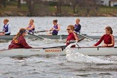 MN Women's Rowing Team vs St Thomas. Minnesota Women's Rowing Team vs St Thomas - April 21, 2007 at Minnesota - some motion blur stock images
