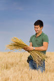 Mna with bunch of wheat Royalty Free Stock Photo
