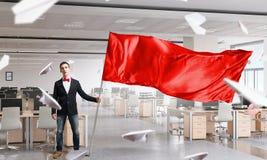 Mna waving red flag Stock Photo