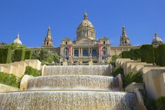 MNAC in Barcelona, Spain. Famous fountain and MNAC in Barcelona, Spain Royalty Free Stock Photo