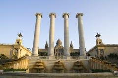 MNAC en Nationaal Paleis van Barcelona Royalty-vrije Stock Fotografie