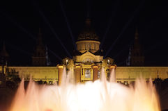 Mnac palace lighting for new year's 2014 Royalty Free Stock Photography