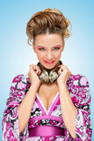 Ménagère dans la violette Photographie stock libre de droits