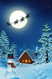 Månbelyst jullandskap på natten Royaltyfria Bilder