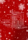 Mång- språkhälsningar för jul Royaltyfri Bild