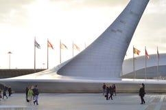 Många ljusa flaggor mot blå himmel och den olympiska facklan Arkivbild