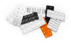 Många olika färgrika läkarbehandling och preventivpillerar från över Royaltyfri Fotografi