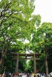 Många personer går till och med Torii (port) i område för den gamla templet, Japan Arkivbilder