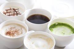 Många typer av kaffe Fotografering för Bildbyråer