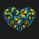 Mångfärgad blom- hjärta på svart bakgrund, illustrati Arkivfoton