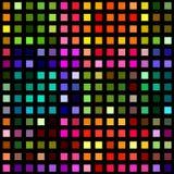 Mångfärgade fyrkantiga kvarter på svart Arkivfoto