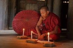 Mnich buddyjski w świątyniach Bagan Obraz Royalty Free