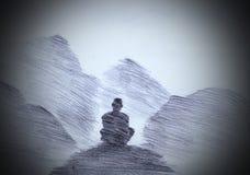Mnich buddyjski w górach Zdjęcie Royalty Free