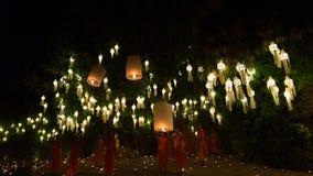 mnicha buddyjskiego gorącego powietrza spławowy balon w Yeepeng Kratho i Loy Obrazy Royalty Free