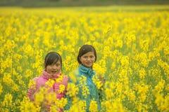 Mniejszości etnicznych dziewczyny w polu canola zdjęcia royalty free