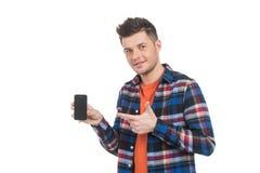 Männer mit Handy. Stockbild